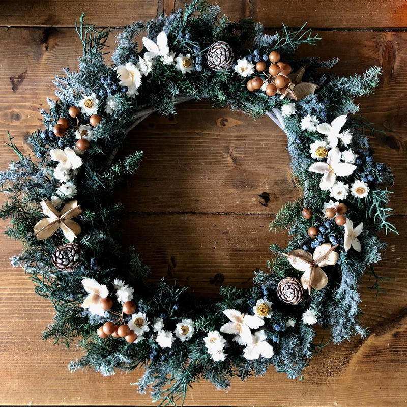 Forest  snow flowers wreath