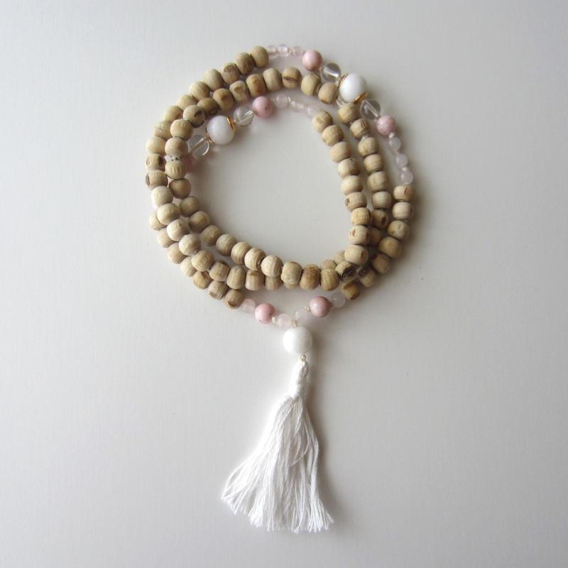 【UN056】108 Tulsi Mala(Rose Quartz/Rhodochrosite (Incarose)/White Quartz ローズクオーツ インカローズ ホワイトクオーツ)