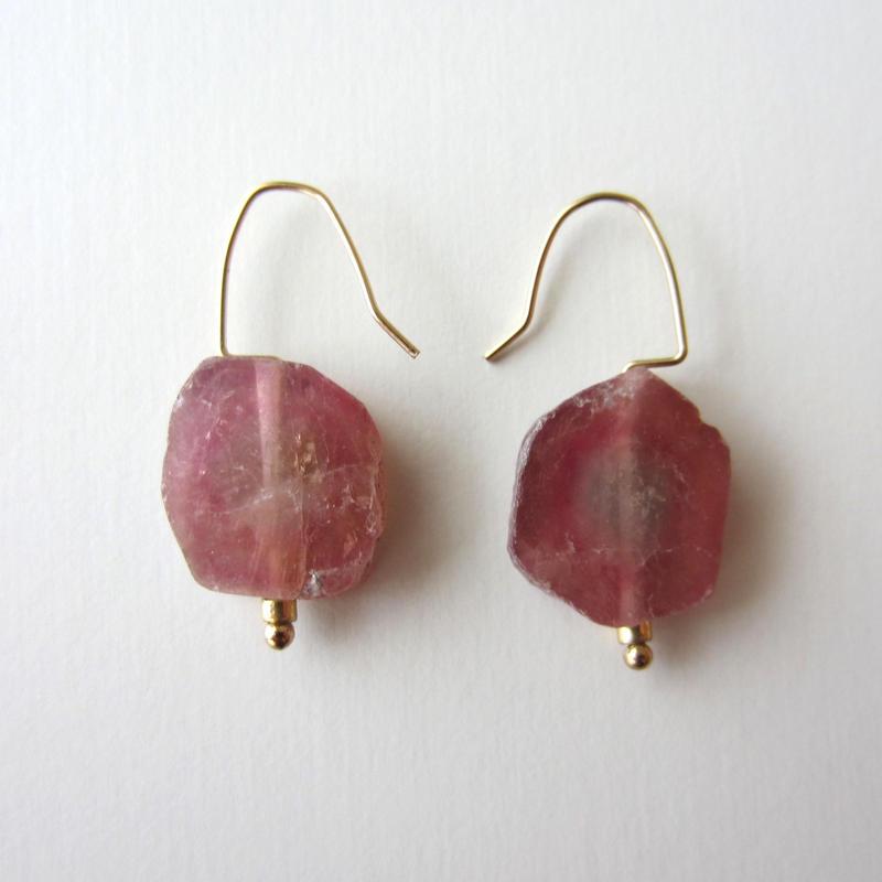 【UE074】Flat Pink Tourmaline Earring 14KGF(ピンクトルマリンピアス)