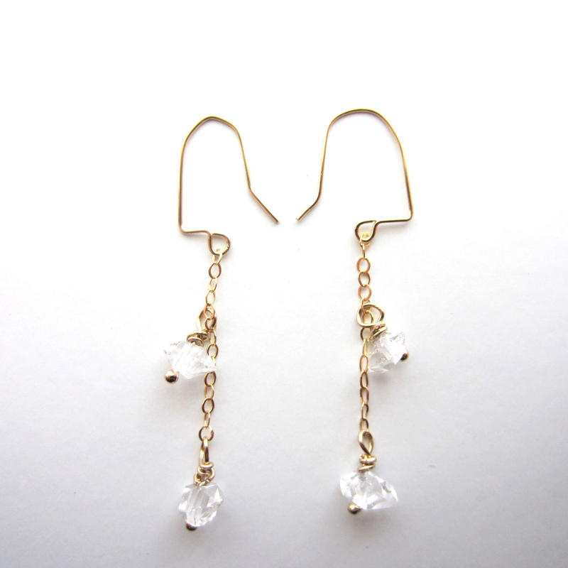【UE073】Harkimer diamond Chain Earring 14KGF(ハーキマーダイヤモンドチェーンピアス)