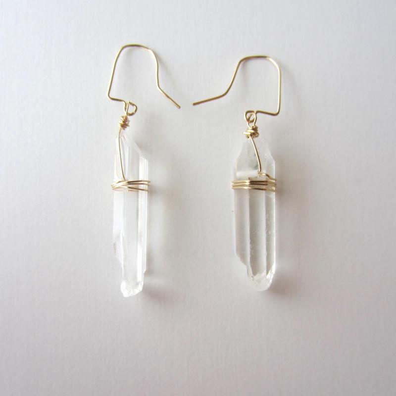 【UE085】Crystal Rock Small Earring 14KGF(クリスタルロックスモールピアス)