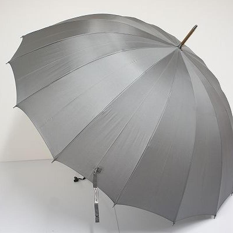 S9638 前原光榮商店 トラッド16 紳士傘 USED超美品 グレー 寒竹 カーボン骨 16本骨 日本製 65cm 中古 ブランド