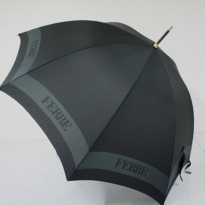 A0042 GIANFRANCO FERRE フェレ 傘 USED極美品 ロゴ 男女兼用 レザー 60cm 中古 ブランド