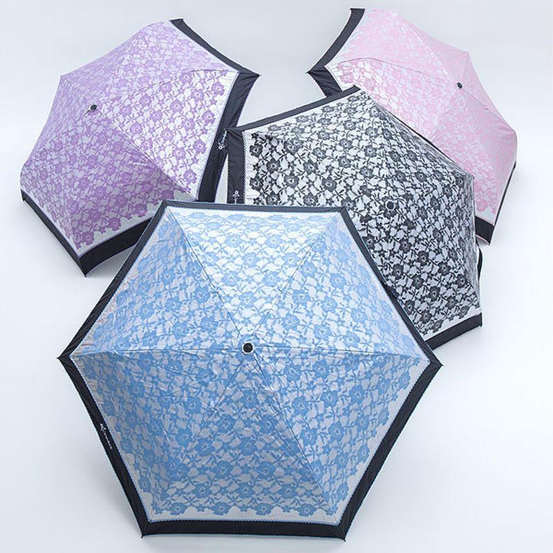 -12℃清涼 カラーレース調の傘 50cm/折りたたみ傘 晴雨兼用 [OSF194 PU/PI/BL/S]