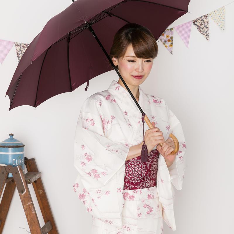 【日本製】 高級 籐ハンドルの傘 55cm/長傘 [W6190 BE/GR/OR/BO]