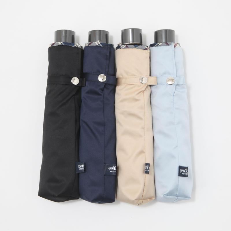【日本製】/NEW YORKER ミニ折りたたみ傘(UV加工済み) [64413BL/NA/BE/SA]
