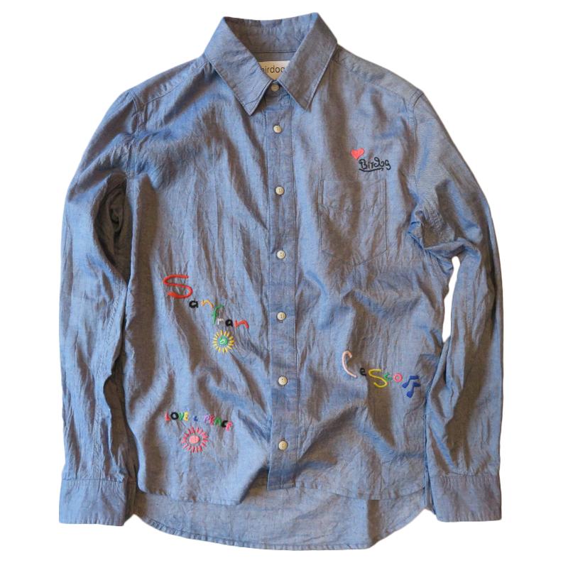 birdog 手刺繍シャツ(サンフランシスコ) (ホワイト、インディゴ)