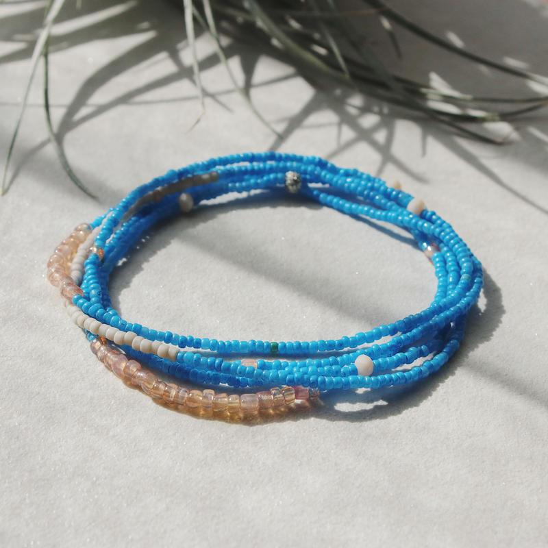 ビンテージビーズのブレスレット(Turquoise blue)