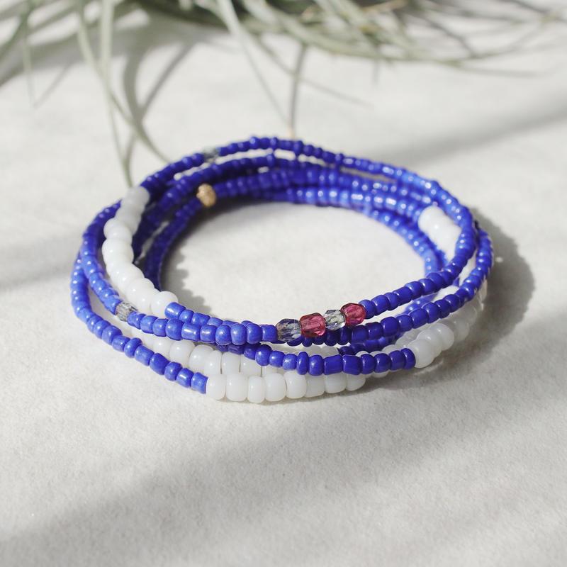 ビンテージビーズのブレスレット(blue)