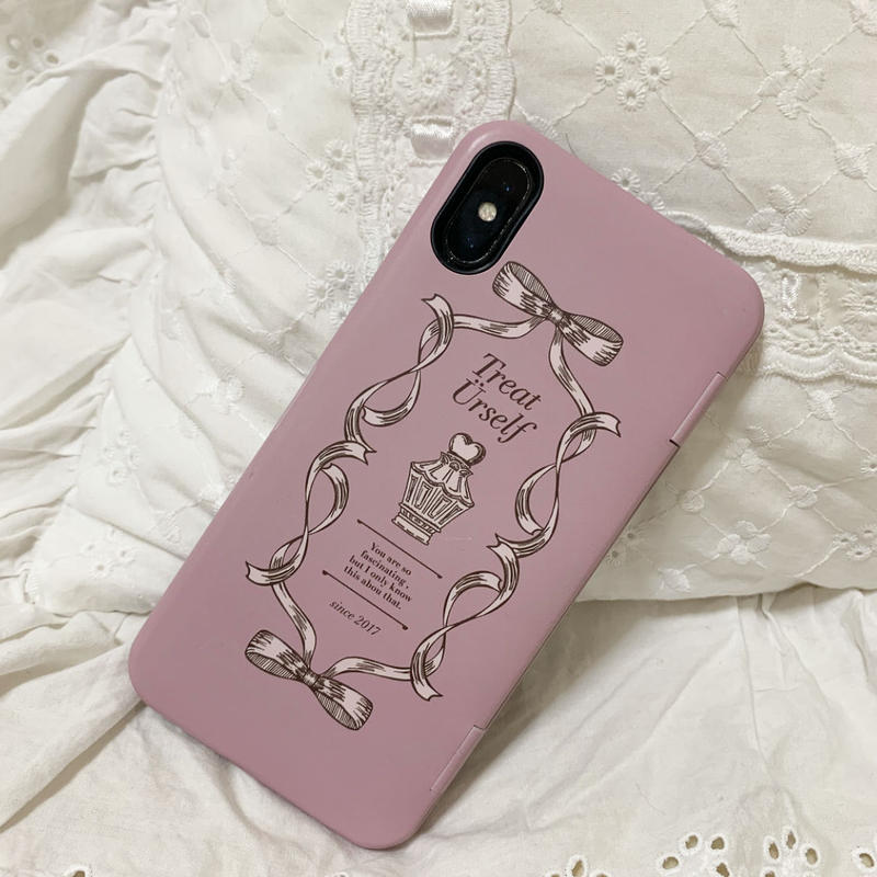 Treat ribbon mirror IC case(Pink)