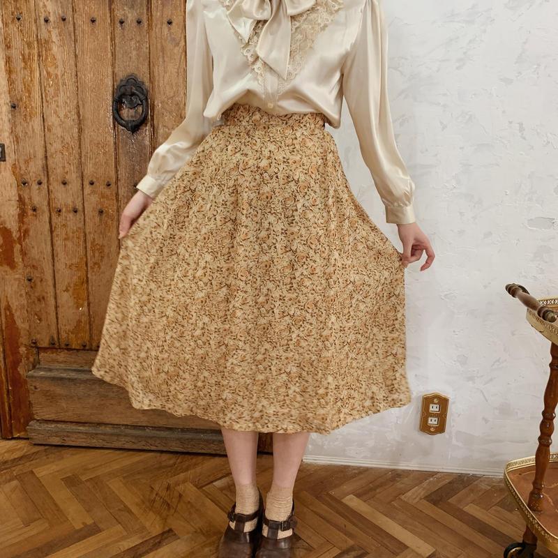 retro flower spring flare skirt