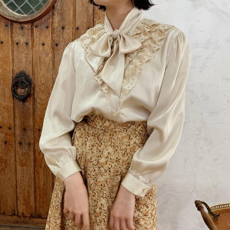 ribbon tie cotton lace satin blouse