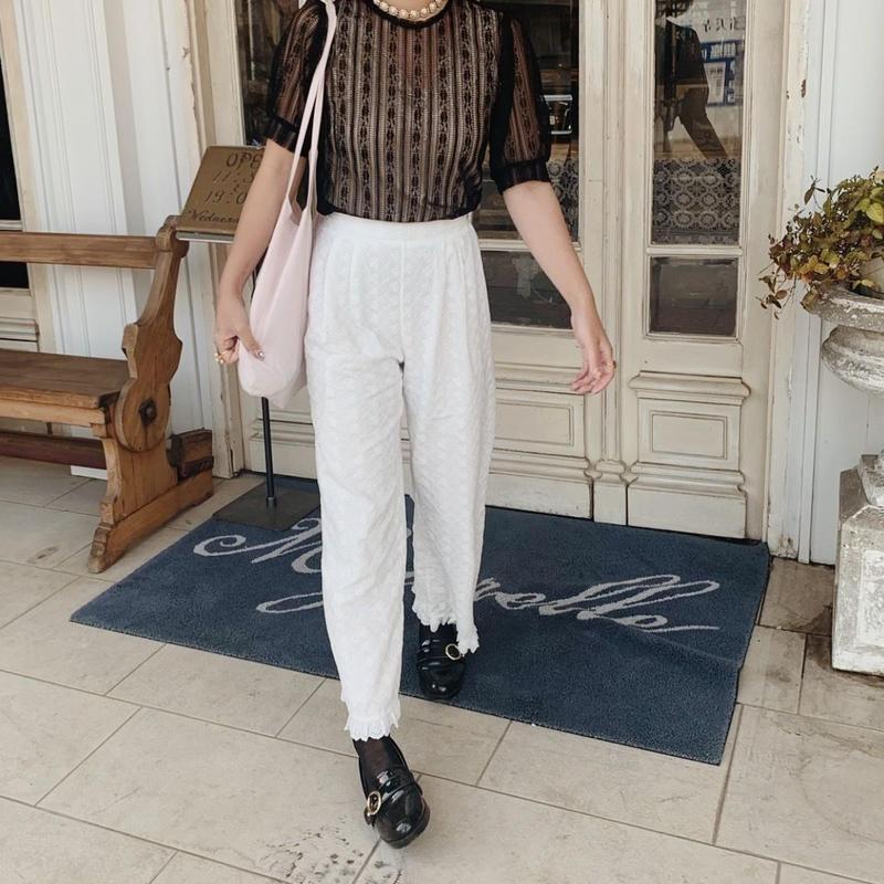 ribbon cotton lace pants