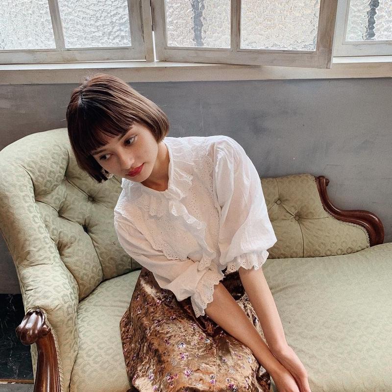 retro cotton lace blouse