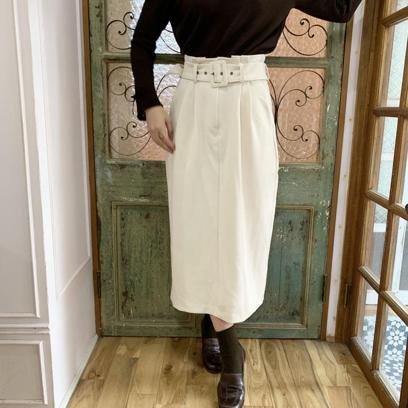 high waist ivory long skirt