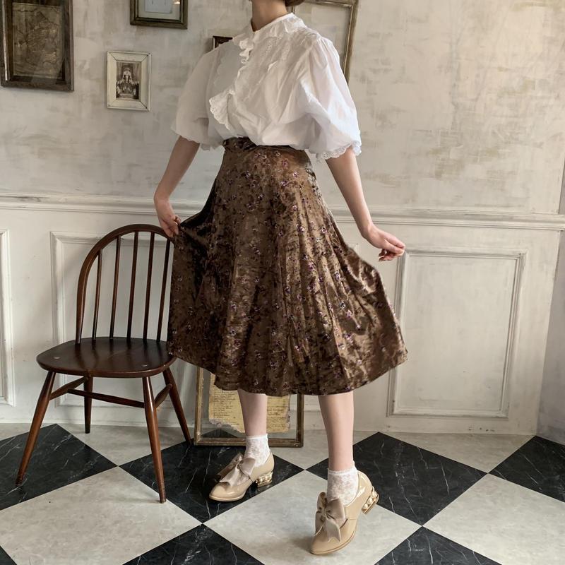 velours flower flare skirt