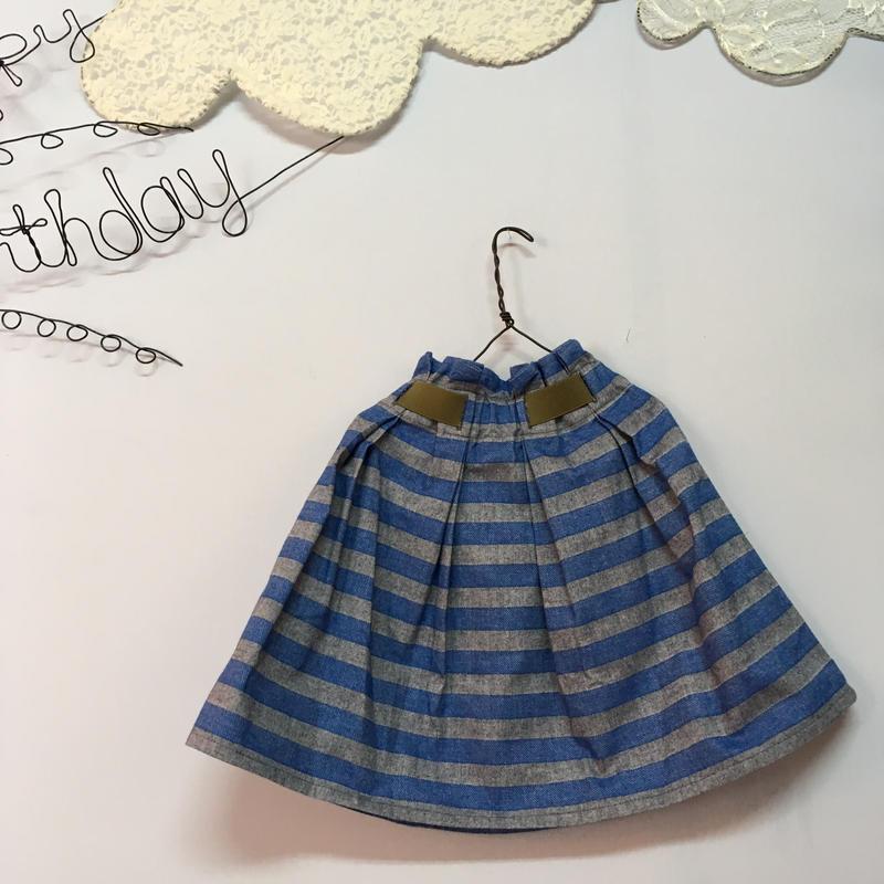 nunuforme  ボーダーギャザースカート