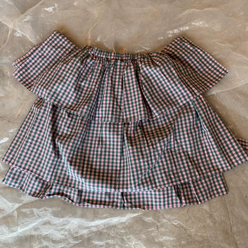 folk made  angel check  skirt