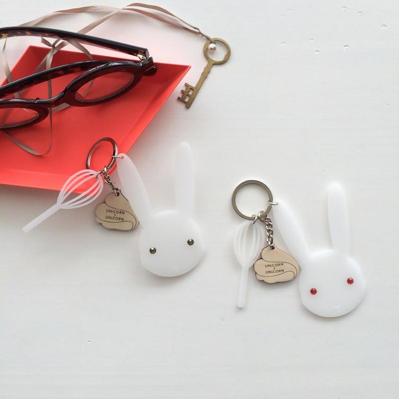 meringue bunny key chain red eyes