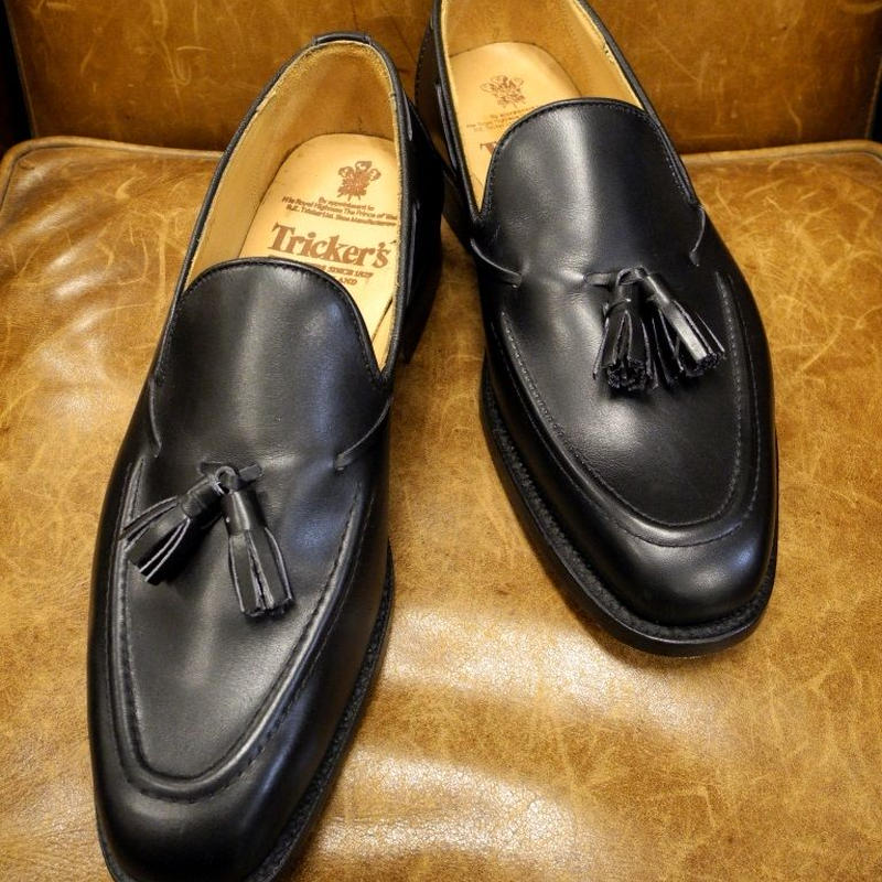 18.49 Rejected Tricker's / Black / Tassel Slip On Shoes / Leather Sole / Size 7