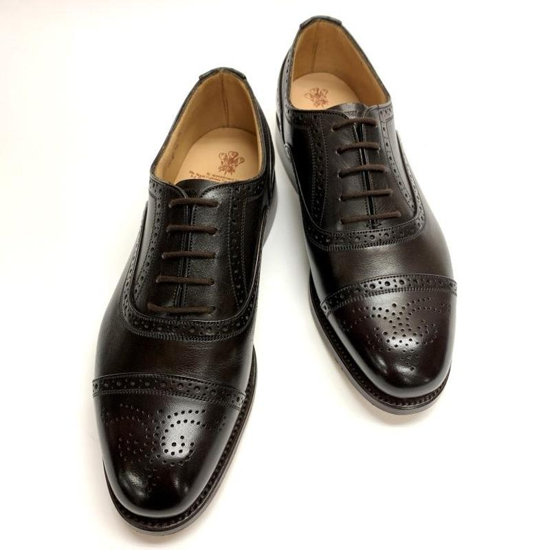 19.08 Rejected Tricker's / Dark Brown / Semi Brogue Oxford / Leather  Sole / Size 6H-4Fitting