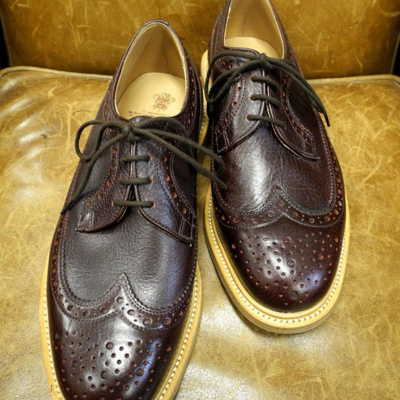 18.32 Rejected Tricker's / Dark Brown / Long Wing Tip Shoes / Leather Sole / Size 7