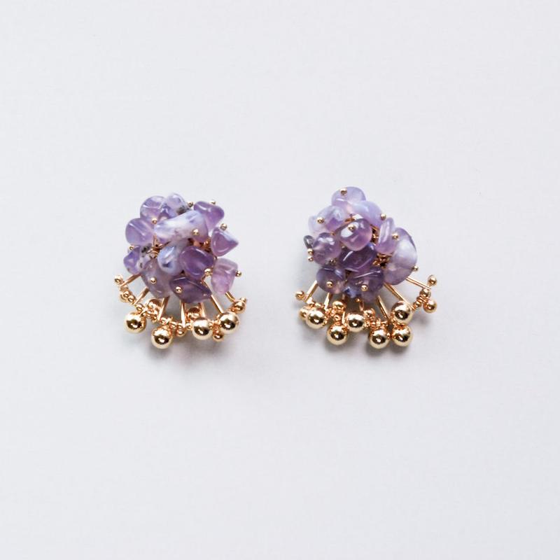 <CIITA>Aria Earrings - PURPLE CHALCEDONY