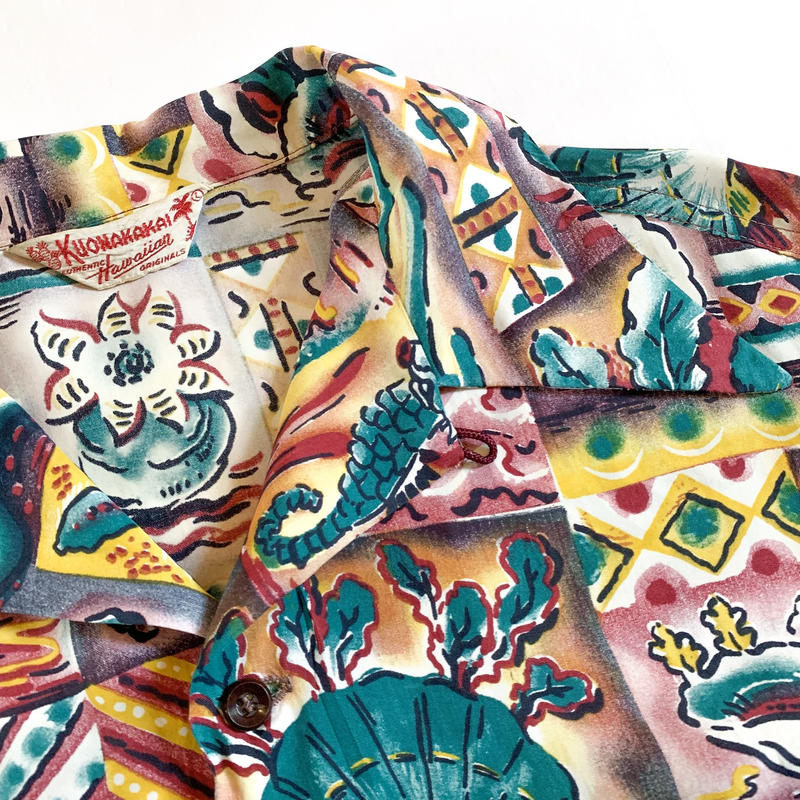 1950's KUONAKAKAI Rayon Hawaiian S/S Shirt