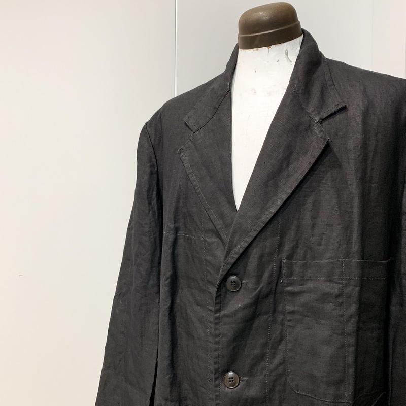 1940's A.BOHUON Black Linen Coat Deadstock