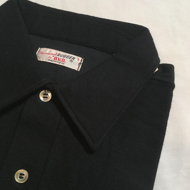 1960's B.V.D. Black Polo S/S Shirt Deadstock