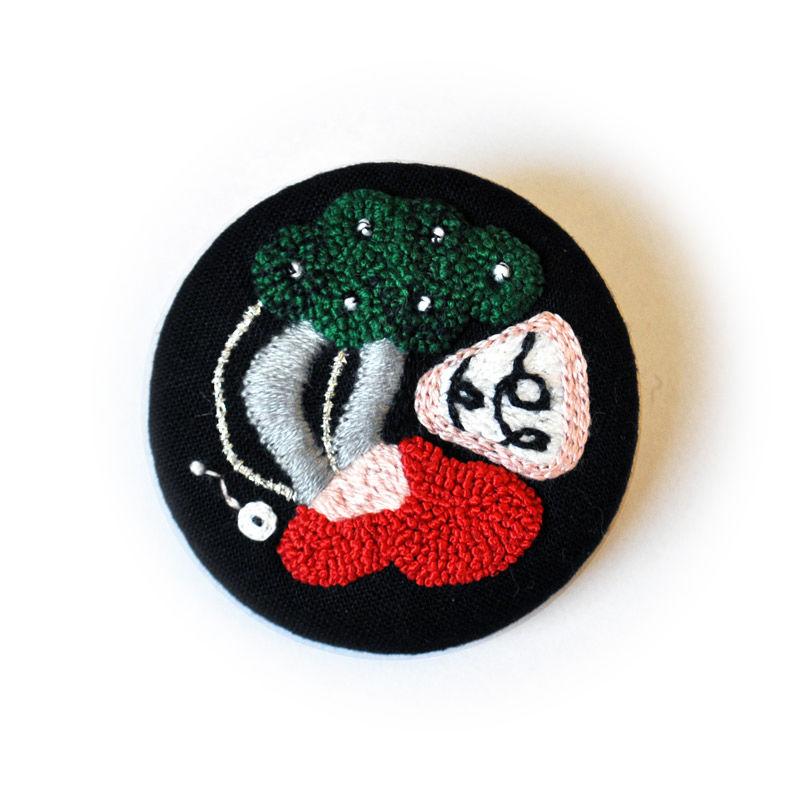 ハヤシミワコ ブローチB(緑)