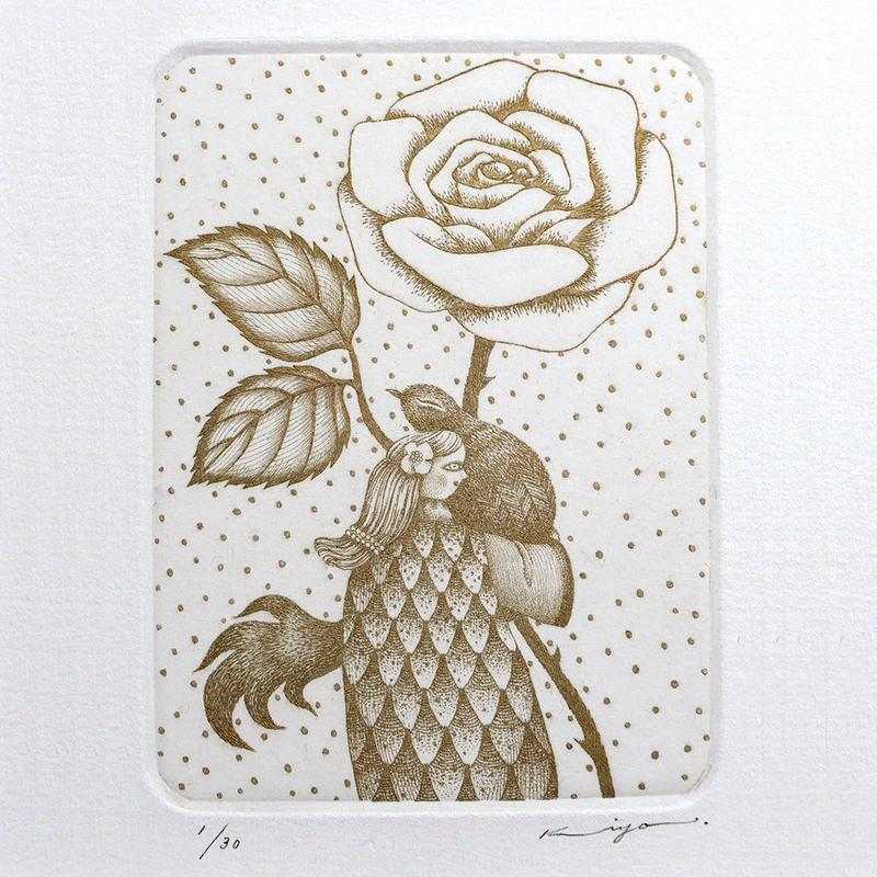 さかたきよこ 銅版画「薔薇」