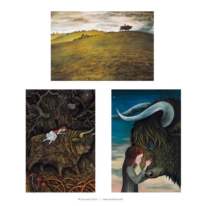 さとうゆうすけ「ノロウェイの黒牛」ポストカード(3枚組)