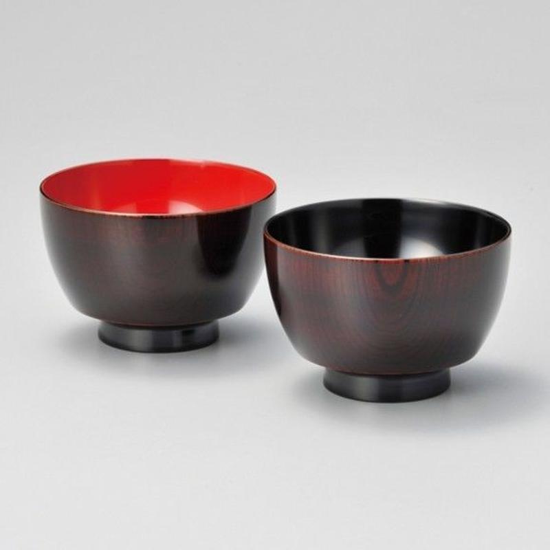 欅振袖汁椀 木地呂(朱・溜)