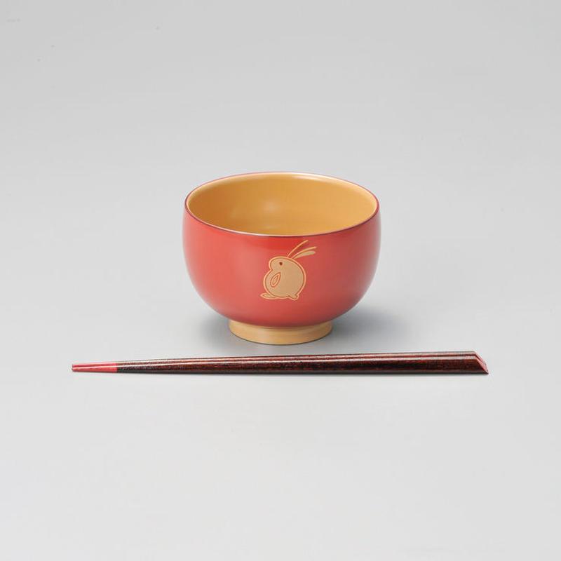 うさぎ ハート箸付(ピンク)1組