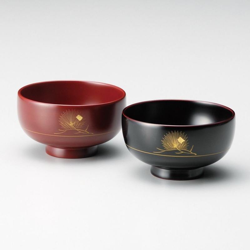 一会松 夫婦椀(古代朱・消溜)