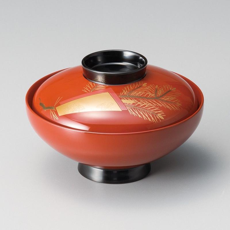色紙松 吸物椀(古代朱)5客セット