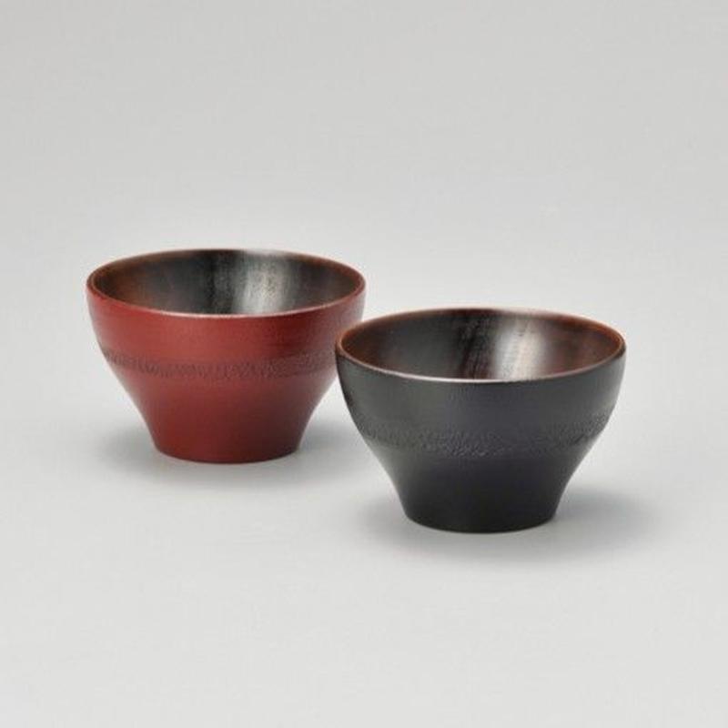 お茶カップペア(黒・朱)2客セット