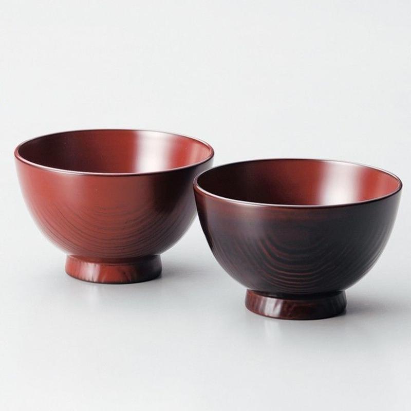 栗夫婦汁椀(古代朱・溜)