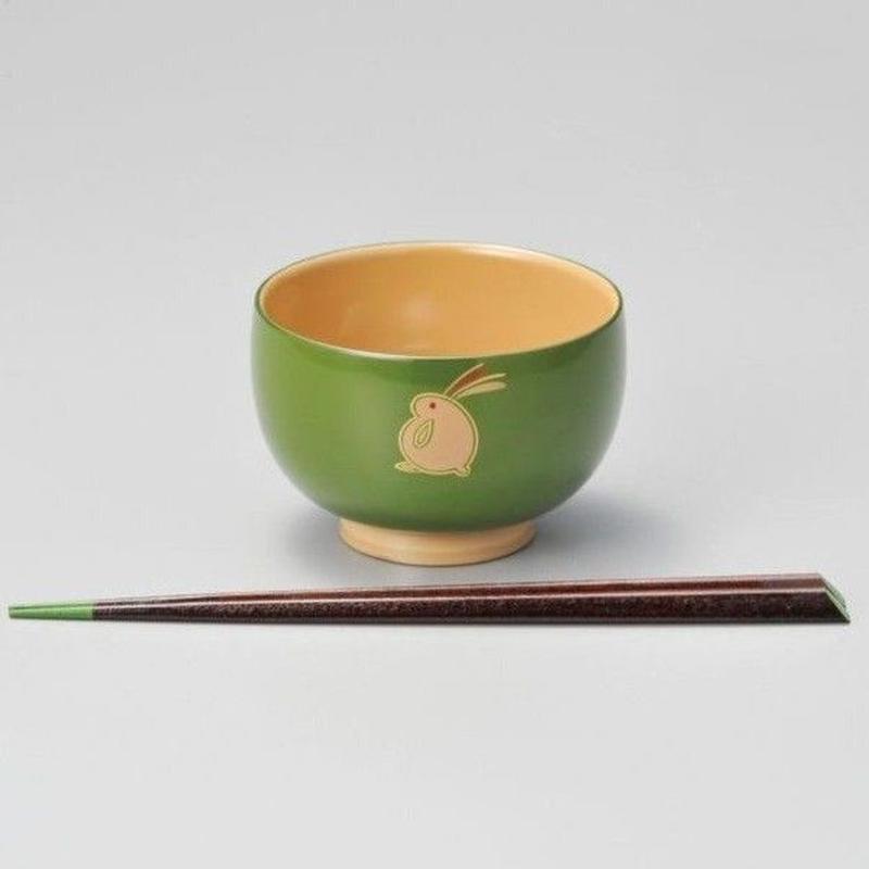 うさぎ ハート箸付(若草)1セット