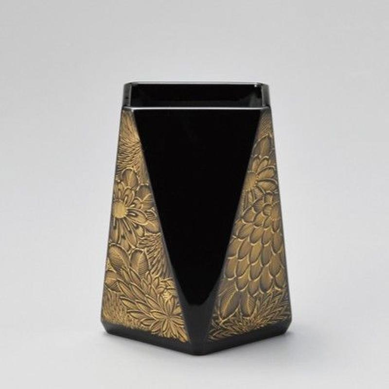 菊彫 ペン立て・四角(黒)