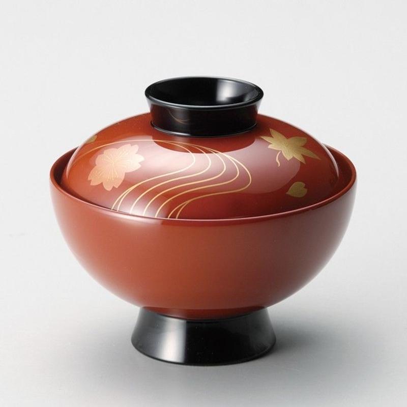 竜田川 吸物椀(古代朱)5客セット