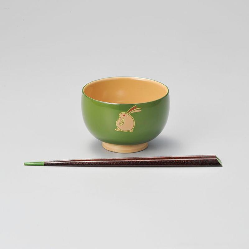 うさぎ ハート箸付(若草)1組