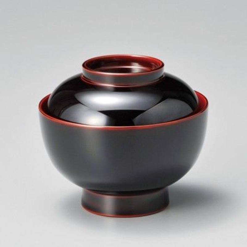 無地 雑煮椀(溜内朱)