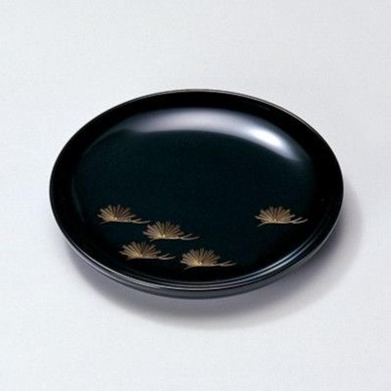 沈金松 銘々皿(黒)5枚セット