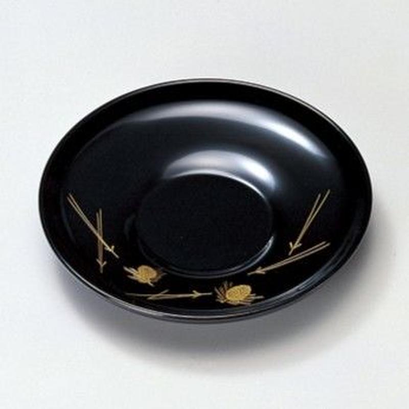 沈金若松 4.0茶托(黒)5枚セット