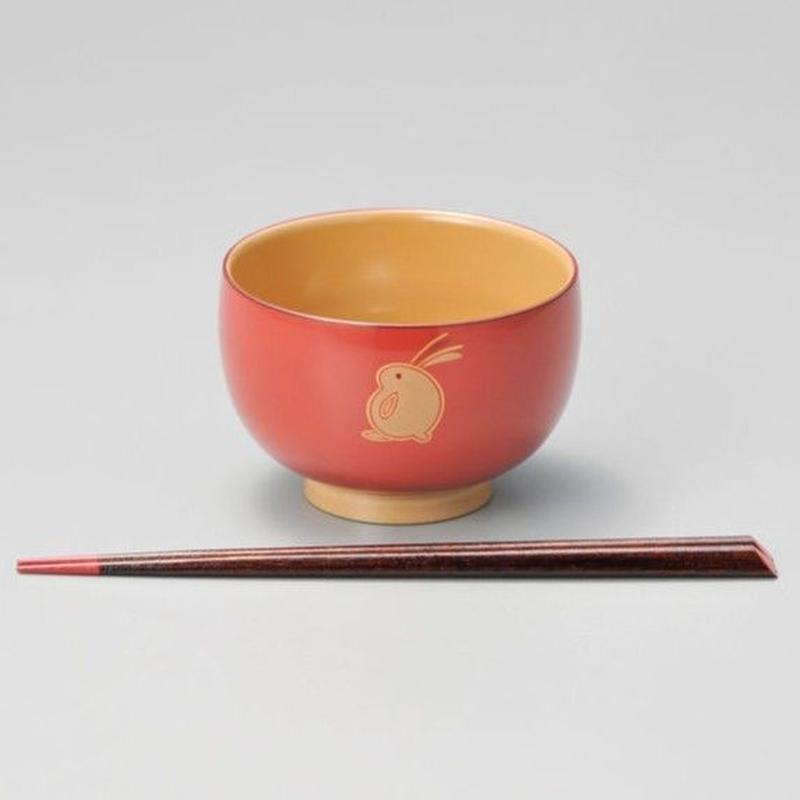うさぎ ハート箸付(ピンク)1セット