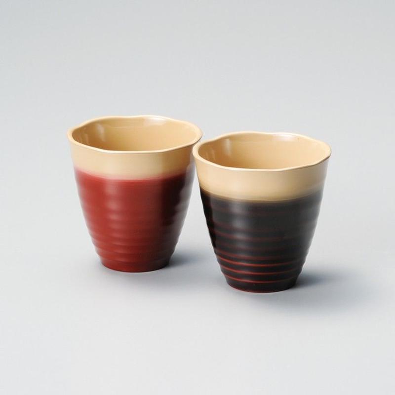 乱筋ぼかし ペアカップ(溜・朱ぼかし)2客セット