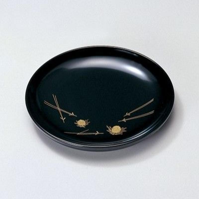 沈金若松 銘々皿(黒)5枚セット
