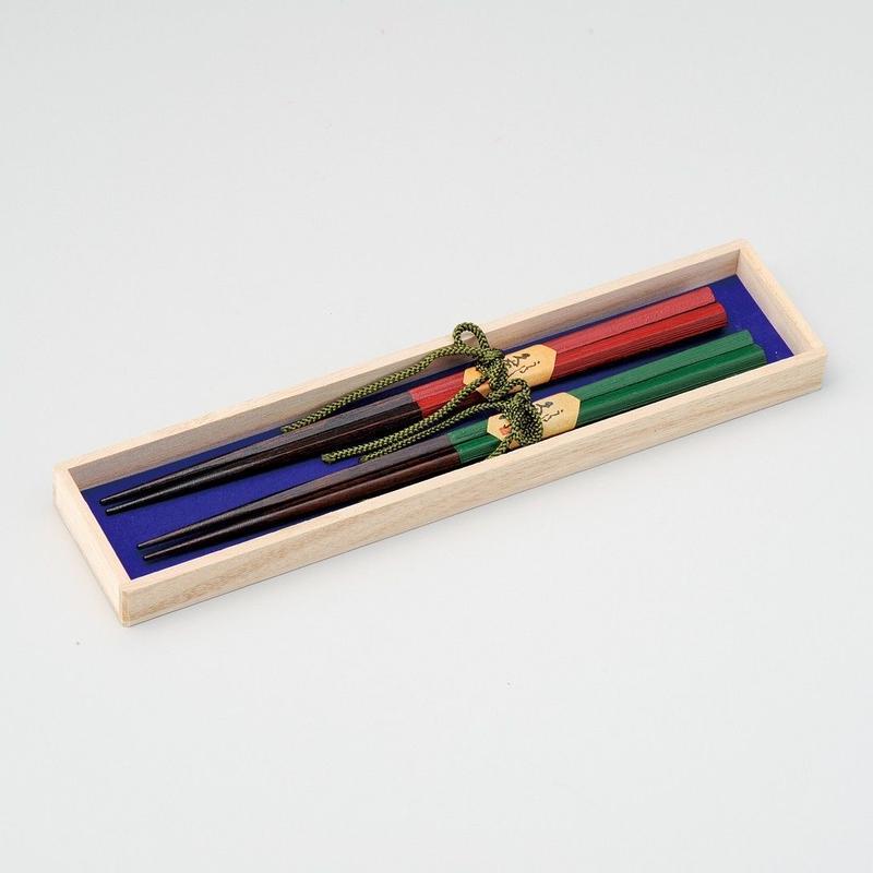 五角刷毛目 ふたり箸(緑・朱)2膳セット